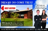 real estate postcards, just listed post cards design #411 you will get more leads with our marketing for realtors.