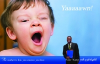 Real estate postcard design that features a little kid yawning